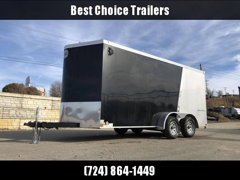 """2019 Wells Cargo 7x16' Road Force Enclosed Motorcycle Trailer 7000# GVW * SILVER/BLACK * RAMP DOOR * V-NOSE * .030 * 1 PC ALUM ROOF * 6'6"""" HEIGHT * TUBE STUDS * SCREWLESS * ARMOR GUARD * MOTORCYCLE PACKAGE * CLEARANCE"""