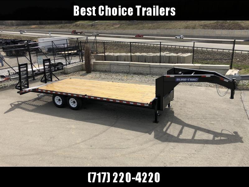 "2019 Sure Trac Gooseneck Beavertail Flatbed Deckover Trailer 15000# GVW * ST102204SDDO-GN-150 * 10"" I-BEAM FRAME * 4"" CHANNEL RAMPS * CLEARANCE"