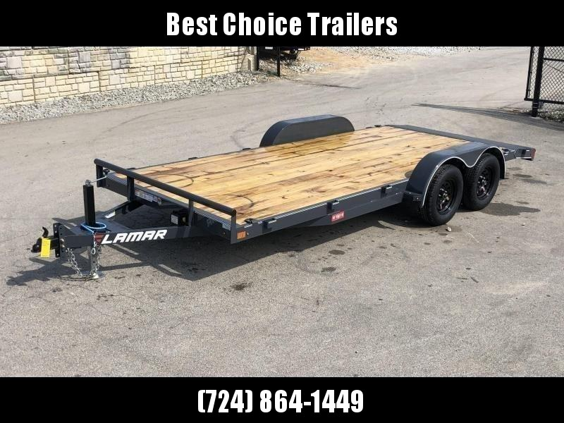 2019 Lamar 7x18 7000# Wood Deck Car Hauler Trailer * ADJUSTABLE COUPLER * DROP LEG JACK * REMOVABLE FENDERS * EXTRA STAKE POCKETS * CHARCOAL * 4 D-RINGS * CLEARANCE - FREE SPARE TIRE