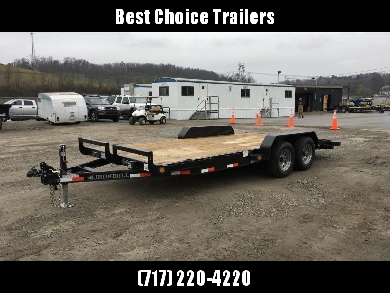 "2019 Ironbull 7x16' Wood Deck Car Hauler Trailer 9990# GVW * OVERWIDTH RAMPS * 16"" O.C. FLOOR * CHANNEL C/M * RUBRAIL/STAKE POCKETS/PIPE SPOOLS/D-RINGS"