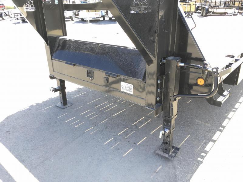 "2020 Ironbull 102x24' Gooseneck Deckover Power Tilt Trailer 14000# GVW * SCISSOR HOIST UPGRADE * WINCH PLATE * I-BEAM FRAME * DUAL HYDRAULIC JACKS * RUBRAIL/STAKE POCKETS/PIPE SPOOLS/D-RINGS/BANJO EYES * 6"" TUBE BED FRAME * 4X4X1/4 WALL TUBE BED RUNNERS ("