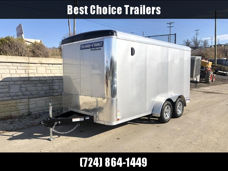 """2020 Sure-Trac 7x14' Pro Series Enclosed Cargo Trailer 7000# GVW  * SILVER EXTERIOR * .030 SCREWLESS EXTERIOR * ROUND TOP * ALUMINUM WHEELS * 1 PC ROOF * 6'6"""" HEIGHT * 6"""" FRAME * 16"""" O.C. C/M * PLYWOOD"""