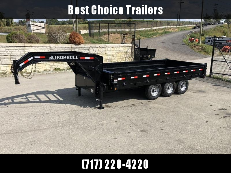 2020 Ironbull 8x18' Gooseneck Deckover Dump Trailer 24000# GVW * 8000# AXLES * TARP KIT * I-BEAM FRAME * BED RUNNERS * FULL FRONT TOOLBOX * DUAL JACKS * FOLD DOWN SIDES * OVERSIZE 5x20 SCISSOR * INTGRATED KEYWAY/10GA WALLS * CLEARANCE