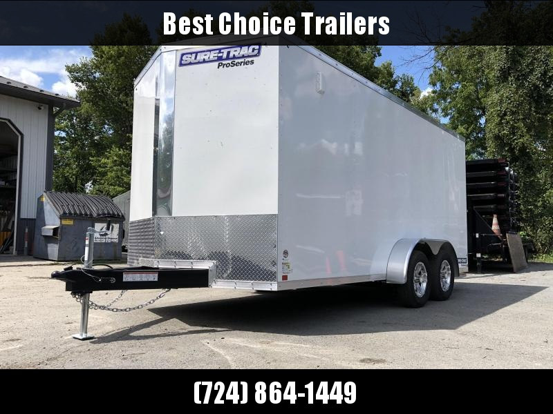 "2020 Sure-Trac 7x16' Pro Series Enclosed Cargo Trailer 7000# GVW * WHITE * SCREWLESS * ALUMINUM WHEELS * 6'6"" * 6"" FRAME * PLYWOOD * RV DOOR * TUBE STUDS"