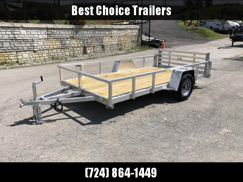 "2020 QSA 6x12' Deluxe Aluminum Utility Trailer 2990# GVW * DROP AXLES * HD TOPRAIL * FOLD IN/BI-FOLD GATE * INTEGRATED FRAME * HIGH SIDES * TRIPLE TUBE TONGUE * SPARE MOUNT * TIE DOWNS * LED'S * FENDER GUSSETS * 3500# AXLE * 15"" TIRES * HD CROSSMEMBERS"