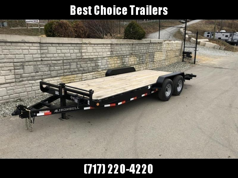 """2019 Ironbull 7x22' Wood Deck Car Trailer 9990# GVW * OVERWIDTH RAMPS * 16"""" O.C. CHANNEL C/M * RUBRAIL/STAKE POCKETS/PIPE SPOOLS/D-RINGS"""