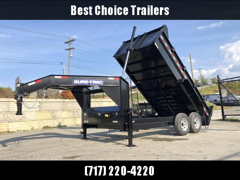 2020 Sure-Trac 7x14' 14000# Low Profile HD GOOSENECK Dump Trailer * TELESCOPIC HOIST * TARP KIT