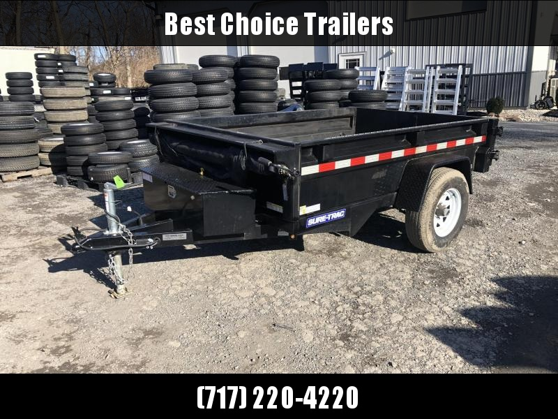 USED 2018 Sure-Trac 5X8' Dump Trailer 5000# GVW * TARP KIT * BARN DOORS * INTEGRATED KEYWAY * SPARE TIRE MOUNT * TARP PREP * D-RINGS * DIAMOND PLATE FENDERS * POWER UP/POWER DOWN * TRIPLE TUBE TONGUE * BULLET LED'S * RADIALS * POWDERCOATED * SEALED HARNES