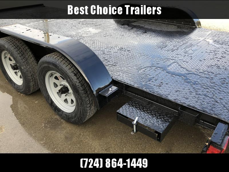 2020 AMO 7x18' Steel Deck Car Trailer 7000# GVW * LED TAIL LIGHTS * STACKED CHANNEL TONGUE/FRAME * BEAVERTAIL * REMOVABLE FENDERS * 2-AXLE BRAKES * STEEL FLOOR