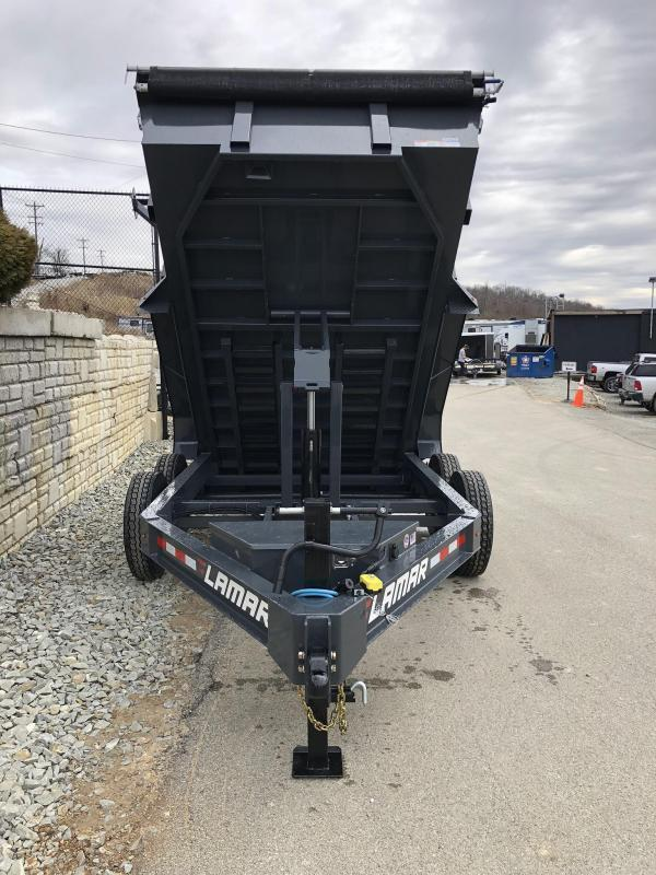 "2019 Lamar 7x12' Dump Trailer 14000# GVW * 14-PLY RUBBER * OIL BATH * REAR JACKSTANDS * 12"" O.C. * TARP * RAMPS * SPARE MOUNT * 12K JACK * CHARCOAL WITH BLACK WHEELS"