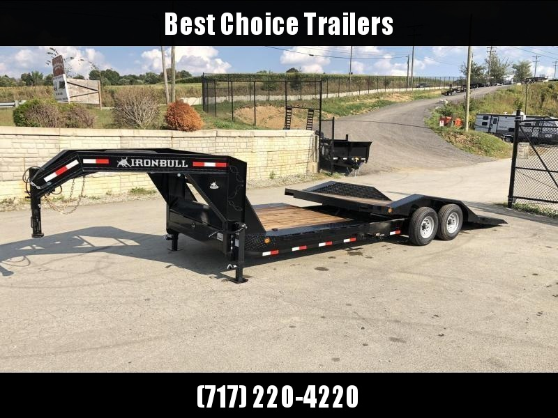"2019 Ironbull 102x20' Gooseneck Gravity Tilt Equipment Trailer 14000# GVW * 16+4' SPLIT DECK * 102"" DECK/DRIVE OVER FENDERS *  * LOW LOADING ANGLE * GRAVITY TILT W/ STOP VALVE * DEXTER TORSION * REM FENDERS * RUBRAIL/STAKE POCKETS/PIPE SPOOLS/D-RINGS * CL"