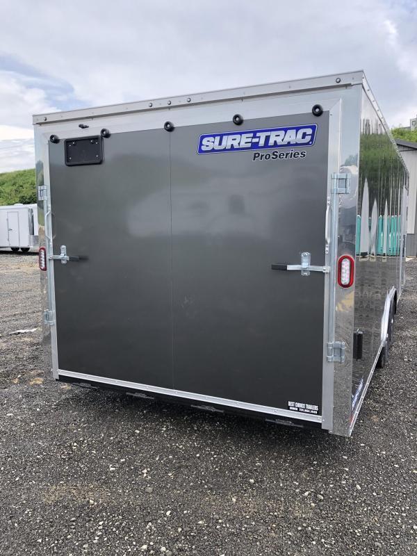 2020 Sure-Trac 8.5x20' Enclosed Car Trailer 9900# GVW * CHARCOAL * 7K DROP LEG JACK * SCREWLESS * ALUMINUM WHEELS