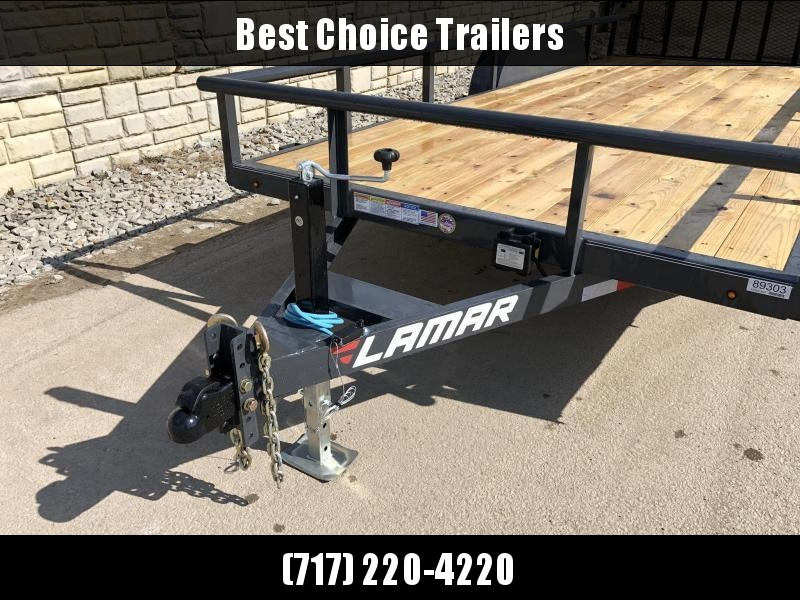 2020 Lamar 7x16' Utility Trailer 9990# GVW * 4' HD RAMP W/ SPRING ASST * 7K JACK * 2' DOVE * PIPE TOP * CHARCOAL * ADJUSTABLE COUPLER