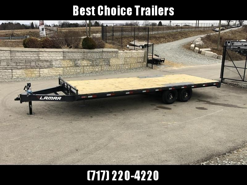 """2019 Lamar 102x24' Flatbed Deckover Trailer 14000# GVW * 8' SLIDE IN RAMPS * CHARCOAL * TOOL TRAY * HD CAST COUPLER * I-BEAM FRAME * 16"""" O.C. C/M * RUBRAIL/STAKE POCKETS/PIPE SPOOLS * CHANNEL SIDE RAIL * 12K JACK * CLEARANCE"""