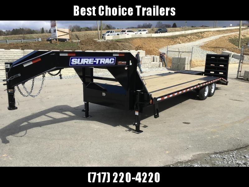 "2020 Sure-Trac 102x25' Gooseneck Beavertail Deckover Trailer 15000# GVW * FULL WIDTH RAMPS (STAND UP OR FLIPOVER) * DUAL 12K JACKS * FULL TOOLBOX * 12"" I-BEAM MAINFRAME * PIERCED FRAME * RUBRAIL/STAKE POCKETS/PIPE SPOOLS/10 D-RINGS * CROSS TRAC BRACING"