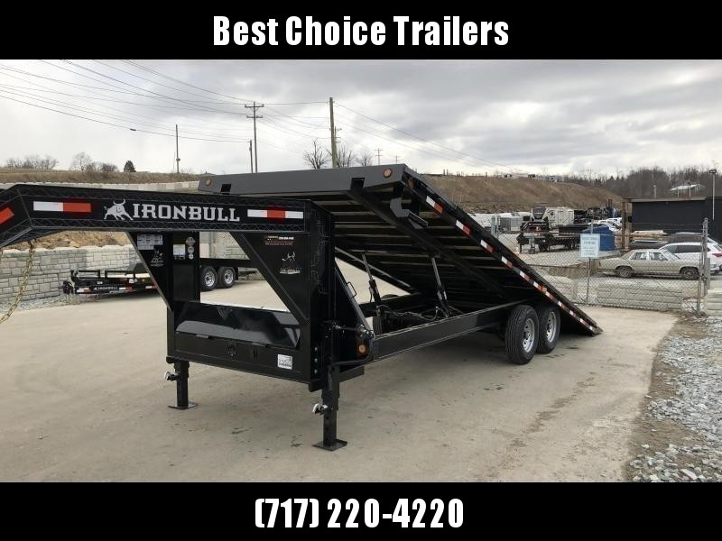 2020 Ironbull 102x22' Gooseneck Deckover Power Tilt Trailer 16000# GVW * DEXTER 8000# AXLES * 14-PLY TIRES * DUAL PISTON * I-BEAM FRAME * RUBRAIL/STAKE POCKETS/PIPE SPOOLS/D-RINGS/BANJO EYES * FULL TOOLBOX * 4X4X1/4 WALL TUBE BED RUNNERS (12#/') * DUAL 12