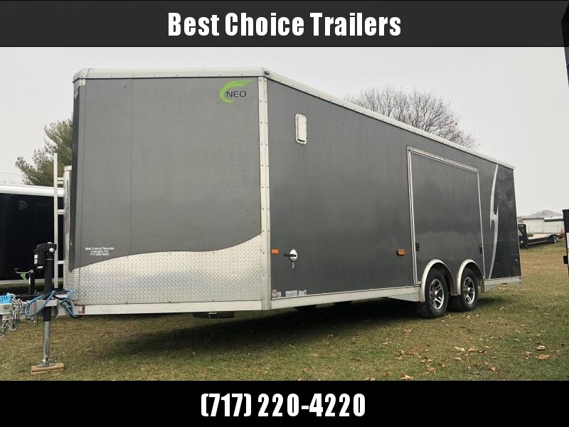 USED 2019 NEO Aluminum 8.5x22' 9900# Enclosed Car Trailer * NCBS2285 * FULL ESCAPE DOOR * ALUMINUM WHEELS * 5200# AXLES * DEXTER TORSION * ROUND TOP * NXP RAMP * SPREAD AXLE * LOADED