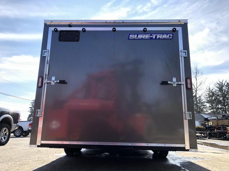 "2020 Sure-Trac 8.5x20' Enclosed Car Hauler Trailer 9900# GVW * WHITE * SEMI-SCREWLESS * 16"" OC * 48"" RV DOOR * TUBE STUDS * 6"" TUBE FRAME * .030 EXTERIOR"