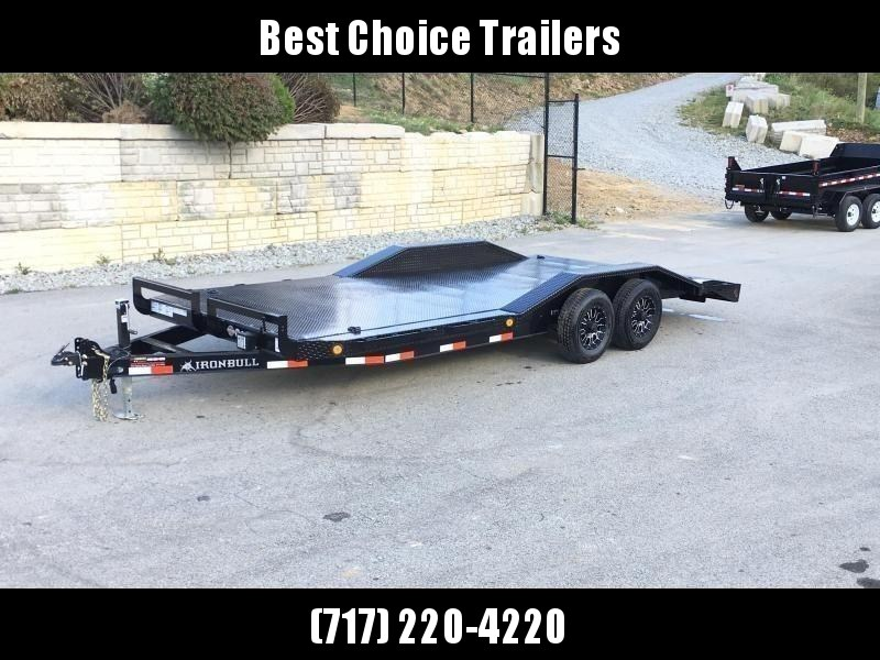 """2019 Ironbull 102""""x20' Steel Deck Buggy Hauler Car Trailer 9990# GVW * STEEL DECK * 102"""" DECK * DRIVE OVER FENDERS * 16"""" O.C. CHANNEL C/M * 6"""" TONGUE/FRAME * RUBRAIL/STAKE POCKETS/PIPE SPOOLS/D-RINGS * ADJUSTABLE COUPLER * DROP LEG JACK * CLEARANCE"""