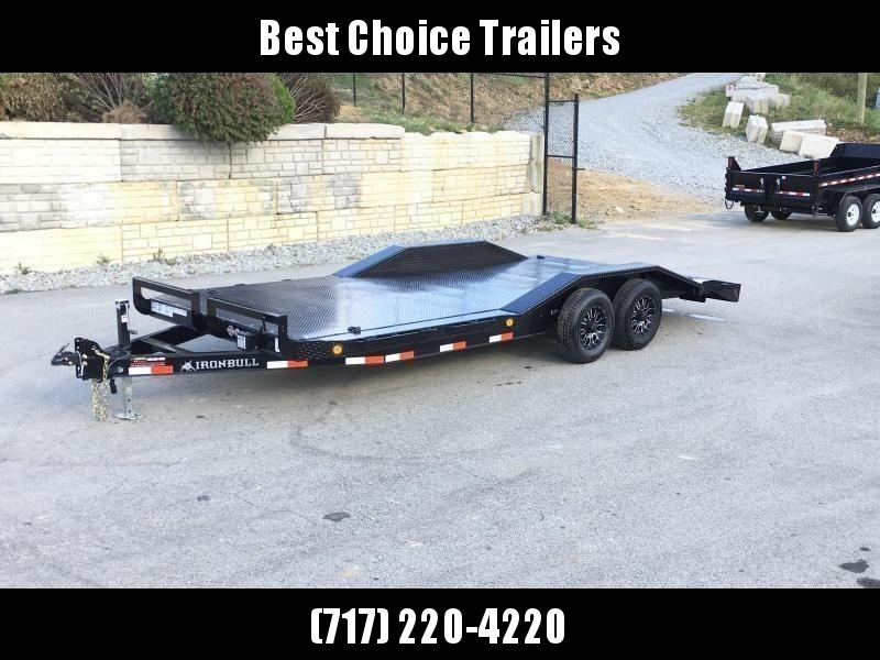 "2019 Ironbull 102""x20' Steel Deck Buggy Hauler Car Trailer 9990# GVW * STEEL DECK * 102"" DECK * DRIVE OVER FENDERS * 16"" O.C. CHANNEL C/M * 6"" TONGUE/FRAME * RUBRAIL/STAKE POCKETS/PIPE SPOOLS/D-RINGS * ADJUSTABLE COUPLER * DROP LEG JACK * CLEARANCE"