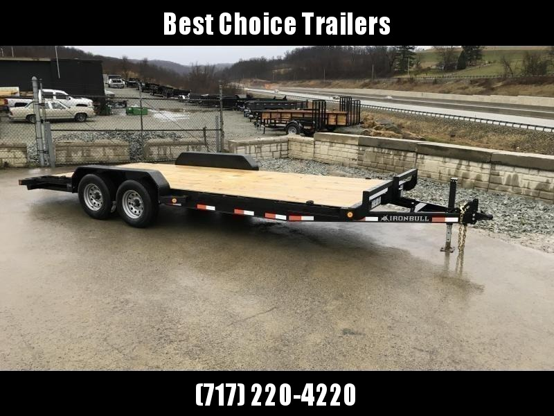 "2020 Ironbull 7x20' Wood Deck Car Hauler Trailer 9990# GVW * OVERWIDTH REAR SLIDEOUT RAMPS * 16"" O.C. FLOOR * CHANNEL C/M * RUBRAIL/STAKE POCKETS/PIPE SPOOLS/D-RINGS * ADJUSTABLE COUPLER * 7K JACK * 2-3-2- WARRANTY * DEXTER'S"