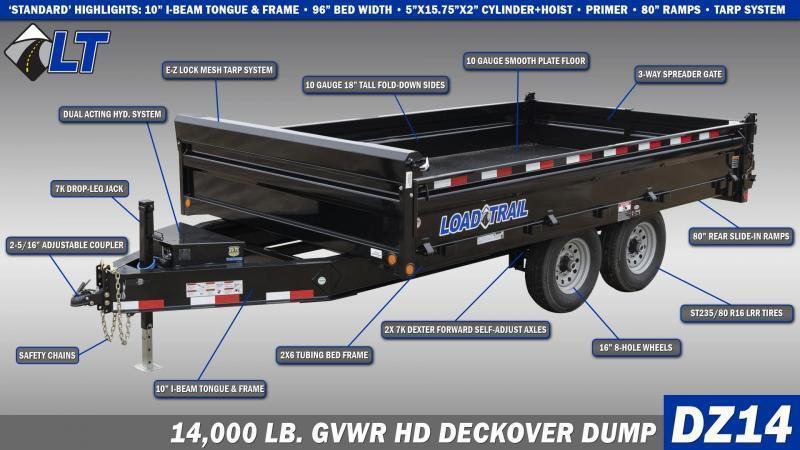"2020 Load Trail 8x16' Gooseneck Deckover Dump Trailer 14000# GVW * DUAL 12K JACKS * FULL TOOLBOX * 10"" I-BEAM FRAME * TARP KIT * 5X20 SCISSOR HOIST * FOLD DOWN SIDES * 3-WAY GATE * 6"" TUBE BED FRAME * 10GA SIDES/FLOOR * INTEGRATED KEYWAY * PRIMER"