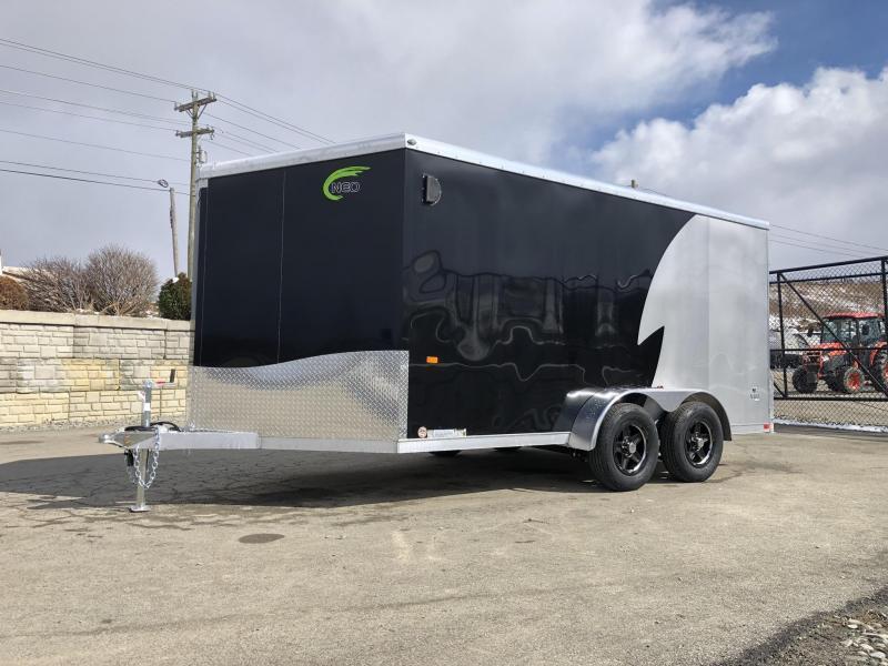 "2020 Neo 7x14 NAMR Aluminum Enclosed Motorcycle Trailer * VINYL WALLS * ALUMINUM WHEELS * +6"" HEIGHT * BLACK"