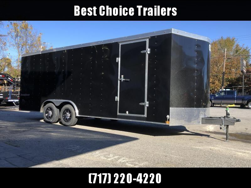 """2020 Wells Cargo 8.5x24' Fastrac DELUXE Enclosed Cargo Trailer 7000# GVW * BLACK EXTERIOR * RAMP DOOR * V-NOSE * .030 EXTERIOR * 6'6"""" HEIGHT * TUBE STUDS * 3/8"""" WALLS * 1 PC ROOF * 16"""" O.C. WALLS * BULLET LED'S"""