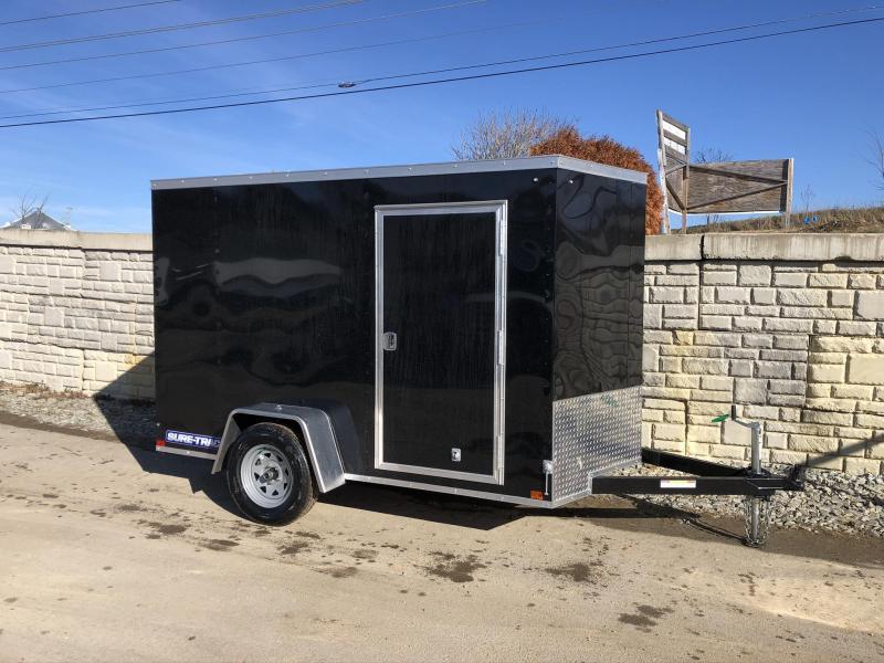 2020 Sure-Trac 6x12' Enclosed Cargo Trailer 2990# GVW * BLACK * SEMI-SCREWLESS * RV DOOR * TUBE STUDS * UNDERCOATED * V-NOSE