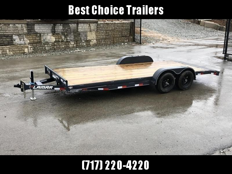 2019 Lamar 7x20' Car Hauler Trailer 9990# GVW * CHARCOAL POWDERCOATING * 7K DROP LEG JACK * CHANNEL C/M * ADJUSTABLE COUPLER * RUBRAIL * CLEARANCE