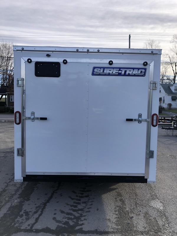 2020 Sure-Trac 7x16' Enclosed Cargo Trailer 7000# GVW * WHITE * SEMI-SCREWLESS * RV DOOR * TUBE STUDS * UNDERCOATED * V-NOSE