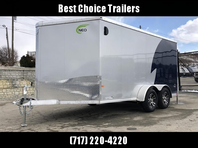 "2019 NEO Trailers 7X12' NAMR Aluminum Enclosed Motorcycle Trailer * INDIGO & SILVER * VINYL WALLS * ALUMINUM WHEELS * +6"" HEIGHT * CLEARANCE"