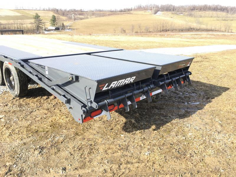 "2020 Lamar F8 102x24' Beavertail Deckover Trailer 14000# GVW * FULL WIDTH RAMPS * CHARCOAL * 16"" O.C. FLOOR * CHAIN TRAY"