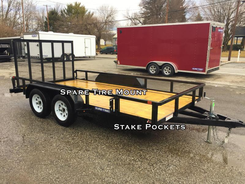 "2019 Sure-Trac 7x18 Tube Top Utility Landscape Trailer 9900# GVW * PROFESSIONAL LANDSCAPE SERIES * HD REINFORCED GATE * 5"" TONGUE & FRAME * 7K JACK * 2X3"" TUBE TOP RAIL * CLEARANCE"
