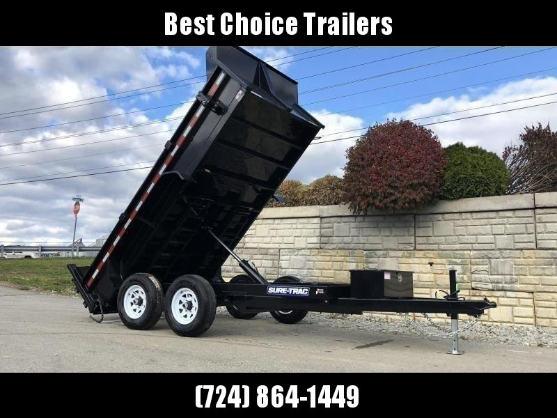 "2020 Sure-Trac 6x12' Dump Trailer 9900# GVW * ADJUSTABLE COUPLER * UNDERMOUNT RAMPS * COMBO GATE * 7K DROP LEG JACK * FRONT/REAR BULKHEAD * INTEGRATED KEYWAY * SPARE MOUNT * HD FENDERS * 4"" TUBE BEDFRAME * TRIPLE TUBE TONGUE * POWDERCOATED"