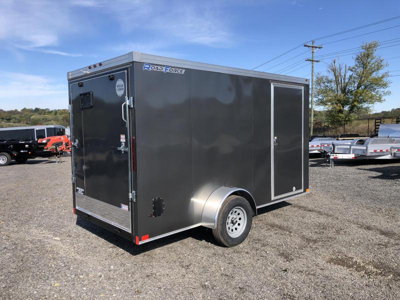 "2019 Wells Cargo 6x12' Road Force Enclosed Cargo Trailer 2990# GVW * CHARCOAL EXTERIOR * RAMP DOOR * SCREWLESS .030 EXTERIOR * 1PC ALUM ROOF * 6'6"" HEIGHT * TUBE STUDS * 16"" O.C WALLS * ARMOR GUARD TONGUE"