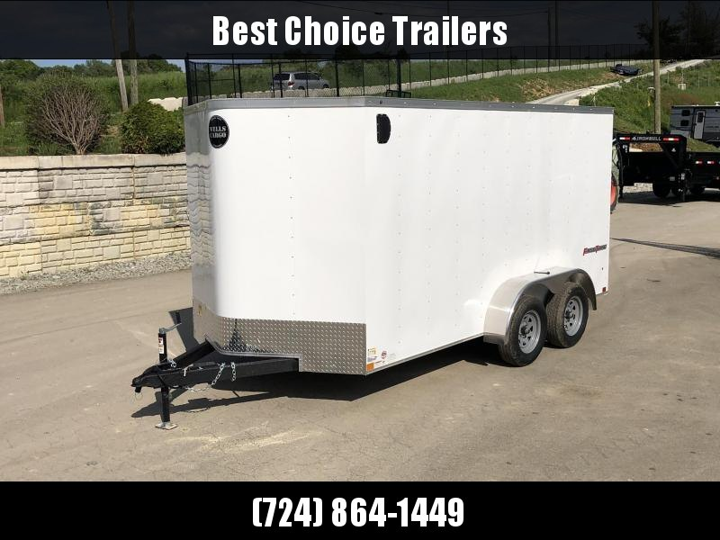 """2019 Wells Cargo 7x14' Fastrac Enclosed Cargo Trailer 7000# GVW * WHITE EXTERIOR * RAMP DOOR * V-NOSE * 1 PC ROOF * 16"""" O.C. WALLS * BULLET LED'S * CLEARANCE"""
