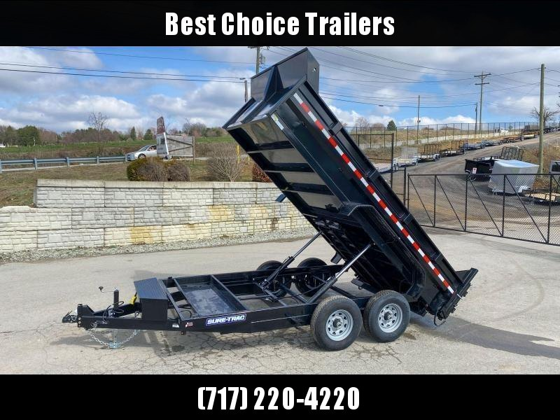2020 Sure-Trac 7x14' Dump Trailer 14000# GVW * DUAL PISTON * FRONT/REAR BULKHEAD * INTEGRATED KEYWAY * 2' SIDES * UNDERBODY TOOL TRAY * ADJUSTABLE COUPLER * 110V CHARGER * UNDERMOUNT RAMPS * COMBO GATE * 7K DROP LEG JACK * SPARE MOUNT