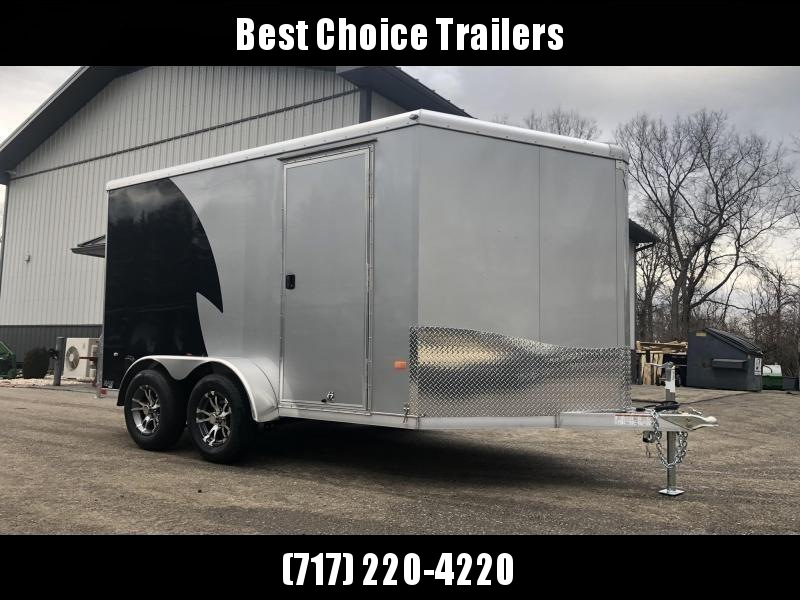 "2019 Neo 7x12 NAMR Aluminum Enclosed Motorcycle Trailer * VINYL WALLS * ALUMINUM WHEELS * +6"" HEIGHT * BLACK & SILVER * CLEARANCE"