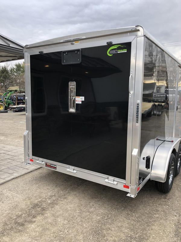 "2019 Neo 7x12 NAMR Aluminum Enclosed Motorcycle Trailer * VINYL WALLS * ALUMINUM WHEELS * +6"" HEIGHT * BLACK & SILVER * CLEARANCE"