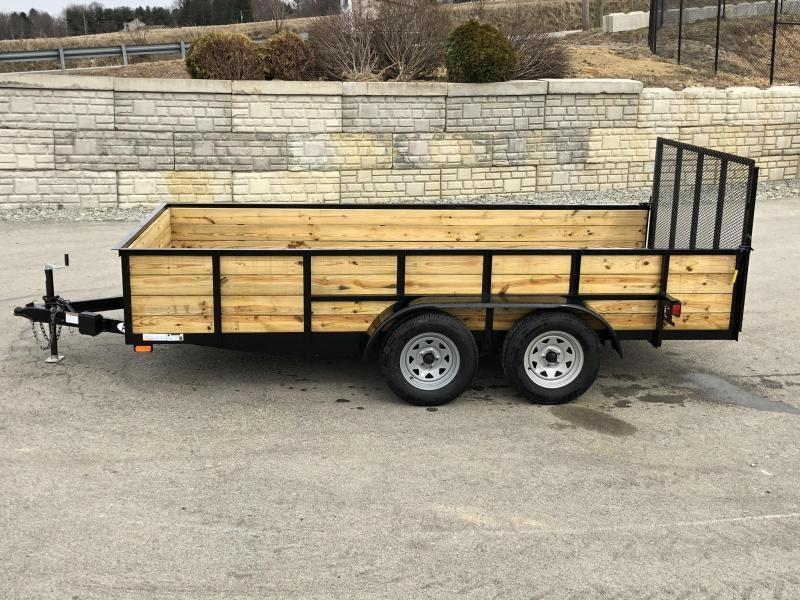 """2019 AMO 76""""x16' Wood High Side TUBE TOP Utility Landscape Trailer 7000# GVW * INCLUDES TOP TOP UPGRADE * CLEARANCE"""