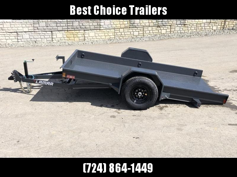 USED 2019 Lamar 79X12' Single Axle Scissor Gravity Tilt Equipment Trailer 7000# * SH791217 * TORSION * STEEL FLOOR 3/16 * WRAPPED SIDES * EXTRA D-RINGS * SPARE MOUNT * CHARCOAL