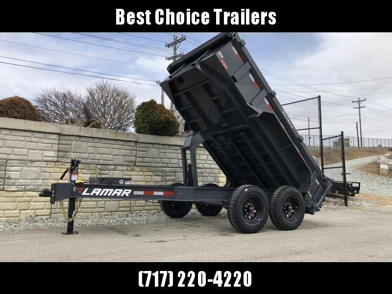 "2020 Lamar 7x12' Deluxe Dump Trailer 14000# GVW * 14-PLY RUBBER * OIL BATH * REAR JACKSTANDS * 7GA FLOOR * TARP KIT * SCISSOR HOIST * 12K JACK * CHARCOAL * RIGID RAILS * HD COUPLER * NESTLED I-BEAM FRAME 28"" H * 3-WAY GATE * 12"" O.C. C/M"