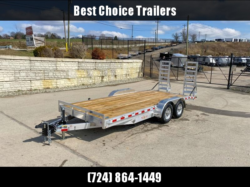 "2020 H&H 7x18' Aluminum Equipment Trailer 9990# GVW * STAND UP ALUMINUM RAMPS * 4 SWIVEL D-RINGS * EXTRA STAKE POCKETS * SPARE TIRE MOUNT * HD 8"" CHANNEL FRAME * REMOVABLE FENDERS * ALUMINUM WHEELS * ADJUSTABLE COUPLER * 7K DROP JACK"
