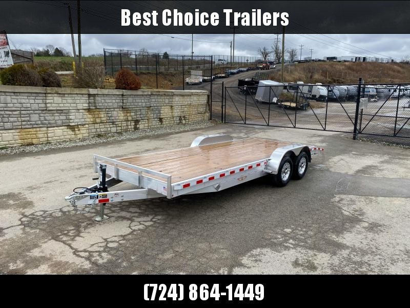 "2019 H&H 7x20' Aluminum Car Hauler Trailer 9990# GVW * HEAVY DUTY 8"" FRAME * EXTRUDED BEAVERTAIL * DROP LEG JACK * ALUMINUM WHEELS * REMOVABLE FENDERS * CHANNEL C/M * RUBRAIL * CLEARANCE"