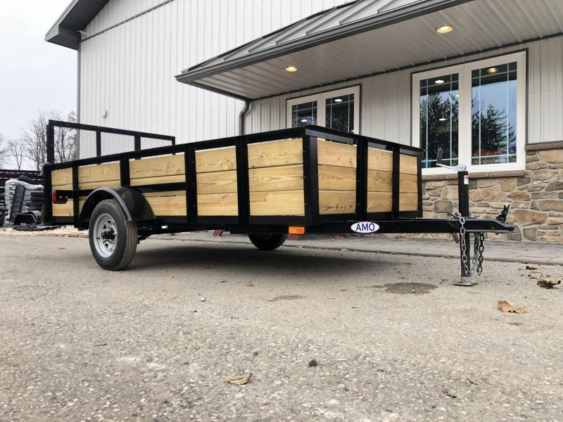 "2020 AMO 5x10' Wood High Side Angle Iron Utility Landscape Trailer 2200# GVW * 3-BOARD HIGH SIDE * GATE * A-FRAME TONGUE * A-FRAME JACK * 2"" BALL"