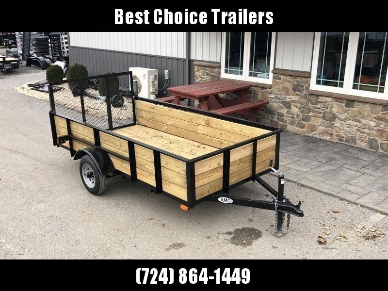 """2020 AMO 5x10' Wood High Side Angle Iron Utility Landscape Trailer 2200# GVW * 3-BOARD HIGH SIDE * GATE * A-FRAME TONGUE * A-FRAME JACK * 2"""" BALL"""