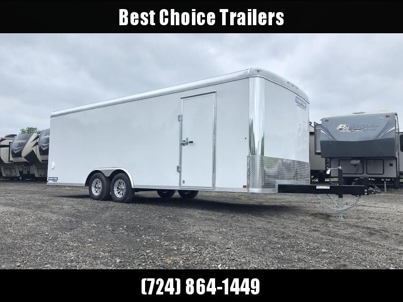 "2019 Sure-Trac 8.5x24' Landscape Pro Enclosed Trailer 9900# GVW * WHITE EXTERIOR * 2X6"" PLANK FLOOR * EXT TONGUE * 5200# TORSION * INTEGRATED KNIFE EDGE * STEEL WORKBENCH * ADJUSTABLE COUPLER * DROP LEG JACK * HD GUSSETS/REINFORCEMENTS * CLEARANCE"