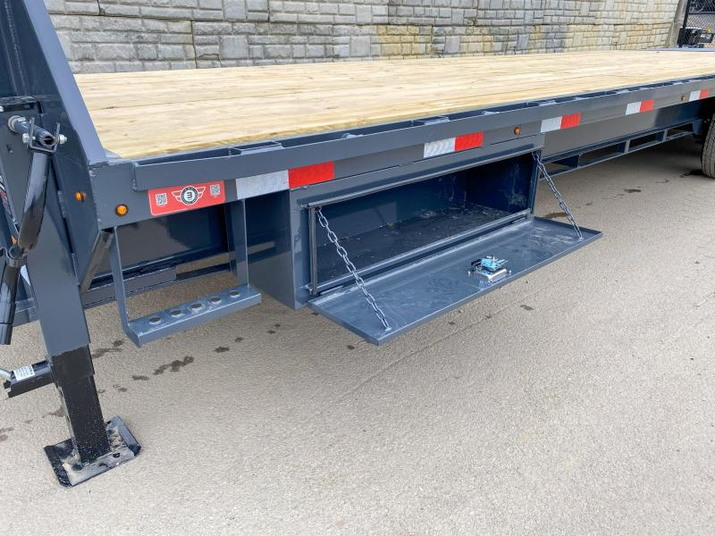 """2020 Lamar 102x30' Gooseneck Beavertail Deckover Trailer 21000# GVW * FULL WIDTH (STAND UP OR FLIPOVER) RAMPS * 4' SIDE TOOLBOX * 12"""" I-BEAM FRAME * FRONT TOOLBOX * DUAL JACKS * CHARCOAL * 16"""" O.C. C/M * RUBRAIL/STAKE POCKETS/PIPE SPOOLS * 4X8"""" TUBE BUMPE"""