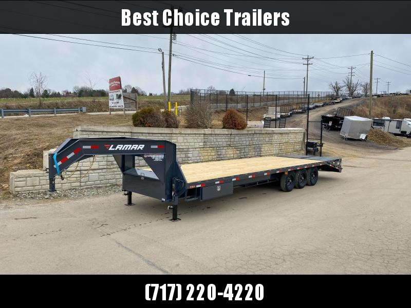 "2020 Lamar 102x25+5' Gooseneck Beavertail Deckover Trailer 21000# * FULL WIDTH RAMPS * SIDE TOOLBOX * CHARCOAL * 12"" I-BEAM * FRONT TOOLBOX / DUAL JACKS * UNDER FRAME BRIDGE"